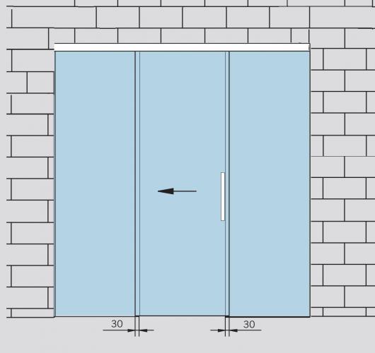 Раздвижная стеклянная дверь с  двумя неподвижными полотнами